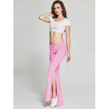 High Slit Flare Bell Bottom Yoga Pants - PINK PINK