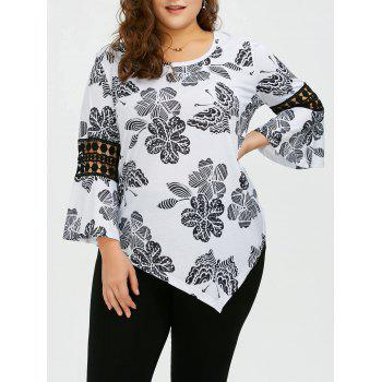 Plus Size Butterfly Floral Bell Sleeve Asymmetric Blouse