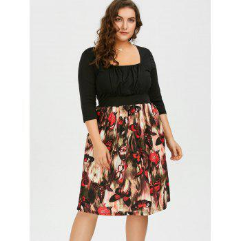 Plus Size Square Neck Butterfly Printed A Line Dress - 2XL 2XL