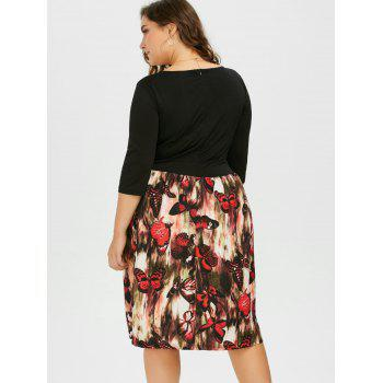 Plus Size Square Neck Butterfly Printed A Line Dress - BLACK BLACK