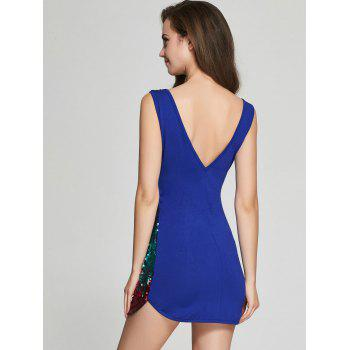 Sequin Glitter Sparkly Tight Club Mini Short Dress - BLUE BLUE