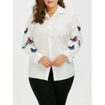 Plus Size Long Sleeve Butterfly Embroidered Shirt