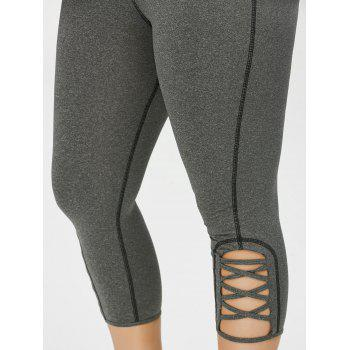 Plus Size Side Criss Cross Cropped Leggings - Gris 3XL