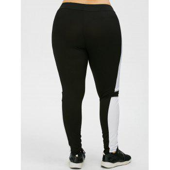 Plus Size Color Panel Workout Leggings - BLACK BLACK