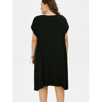 Plus Size Graphic Shift Midi Loose Fitting T-Shirt Dress - BLACK ONE SIZE