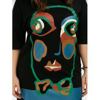 Plus Size Abstract Face Print T-Shirt Dress - ONE SIZE ONE SIZE