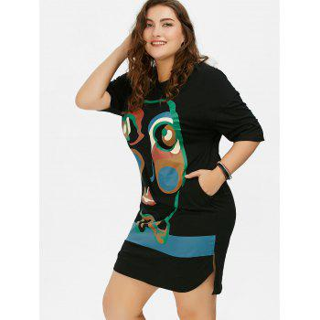 Plus Size Abstract Face Print T-Shirt Dress - BLACK ONE SIZE