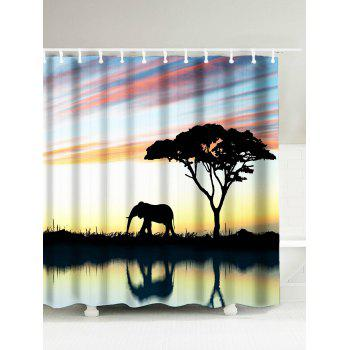 Afro Landscape Elephant Water Resistant Shower Curtain