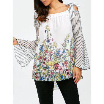 Buy Shoulder Striped Floral Chiffon Blouse COLORMIX