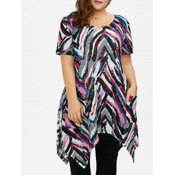 Plus Size Longline Asymmetric T-Shirt with Pockets