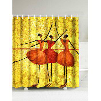 Dancing Girls Water Resistant Polyester Afro Shower Curtain
