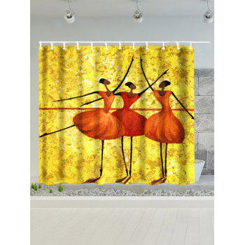 Dancing Girls Water Resistant Polyester Afro Shower Curtain - GOLDEN YELLOW 180*200CM