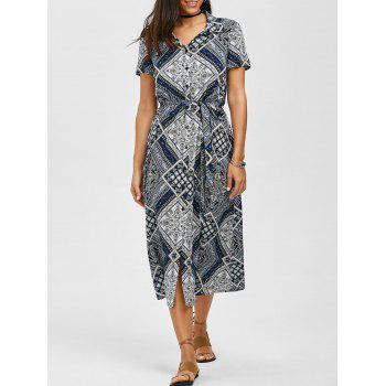 Button Up Graphic Tie Belt Maxi Dress
