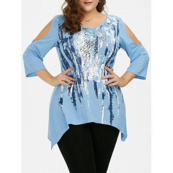 Cold Shoulder Asymmetric Plus Size T-Shirt
