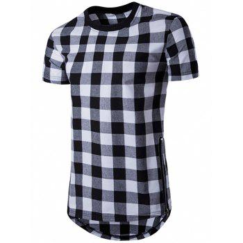 Side Zips Plaid Hem T-Shirt - BLACK BLACK