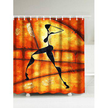Figure Shadow Print Waterproof Afro Shower Curtain