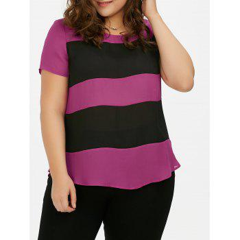 Plus Size Striped Single Breasted Blouse