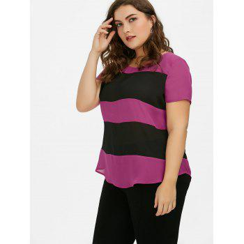 Plus Size Single Breasted Striped Blouse - BLACK/ROSE RED 5XL