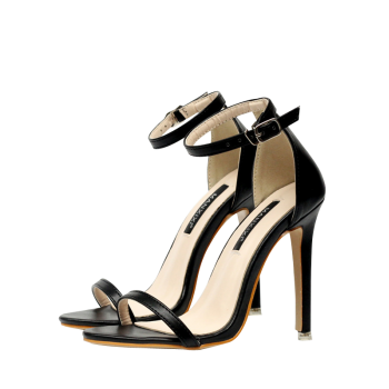 PU Leather Mini Heel Ankle Strap Sandals
