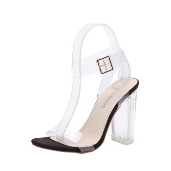 Ankle Strap Transparent Plastic Clear Heel Sandals
