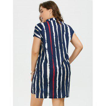 Plus Size Tie Dye Stripe Fitted Tunic Shirt Dress - PURPLISH BLUE PURPLISH BLUE