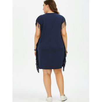 Plus Size Printed Baggy Fringe T Shirt Dress - DEEP BLUE ONE SIZE