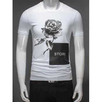 Floral Printed Graphic T-Shirt - WHITE WHITE