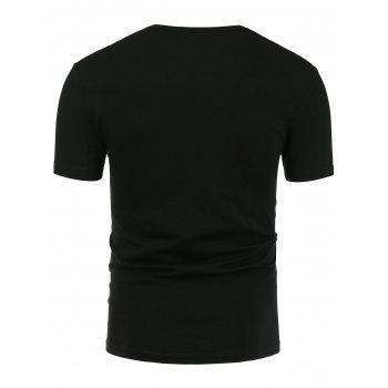Crew Neck Short Sleeve Tee - BLACK BLACK