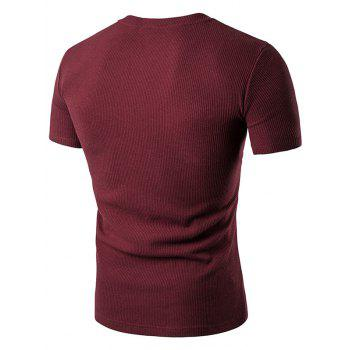 Buttons Fake Pocket Henley T-Shirt - WINE RED M