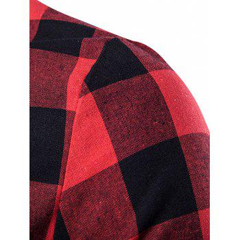 Side Zips Plaid Hem T-Shirt - RED M