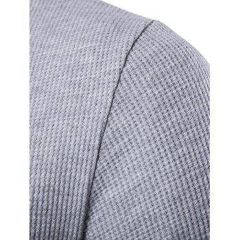 Faux Leather Patched Henley T-Shirt - LIGHT GRAY XL