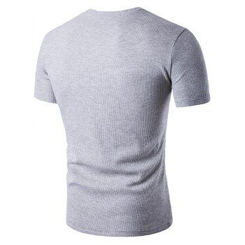 Faux Leather Patched Henley T-Shirt - LIGHT GRAY S