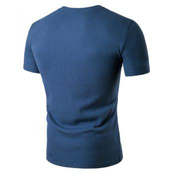 Faux Leather Patched Henley T-Shirt - BLUE L