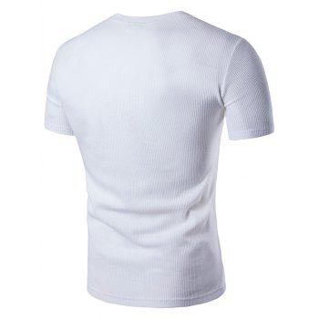 Faux Leather Patched Henley T-Shirt - WHITE M