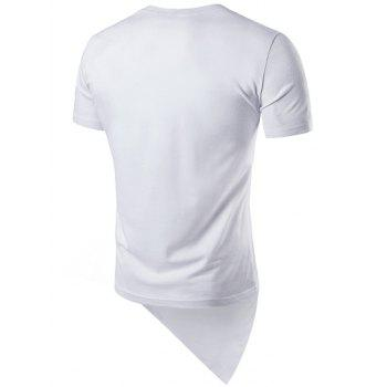 Basic Asymmetric Hem T-Shirt - WHITE L