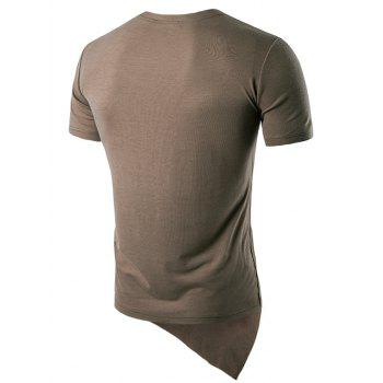 Basic Asymmetric Hem T-Shirt - COFFEE 2XL