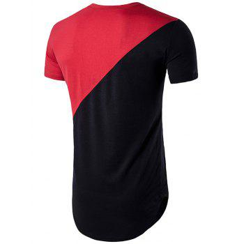 Color Block Geometric Hem T-Shirt - RED XL