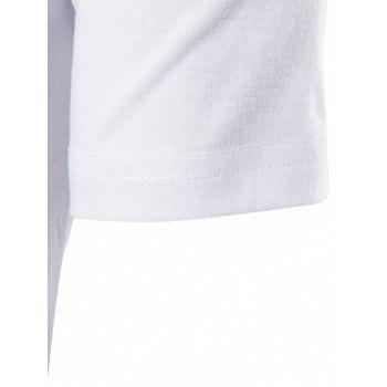 Color Block T-shirt de Hem géométrique - Blanc L