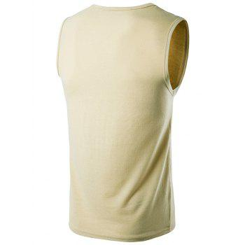 Sleeveless Crew Neck T-Shirt - KHAKI XL