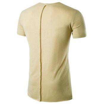 Asymmetric Hem Crew Neck T-Shirt - KHAKI XL
