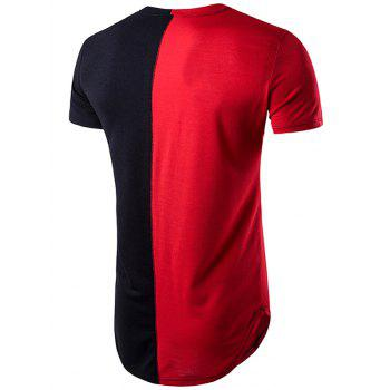 Color Block Crew Neck Hem T-Shirt - RED XL