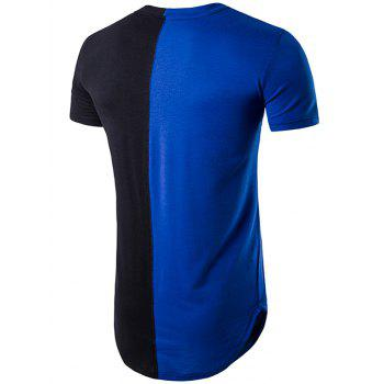 Color Block Crew Neck Hem T-Shirt - BLUE S