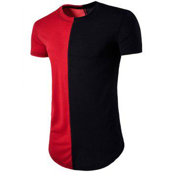 Color Block Crew Neck Hem T-Shirt - RED RED