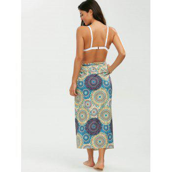 Tribal Loop Printed Lace Up Sarong - YELLOW ONE SIZE
