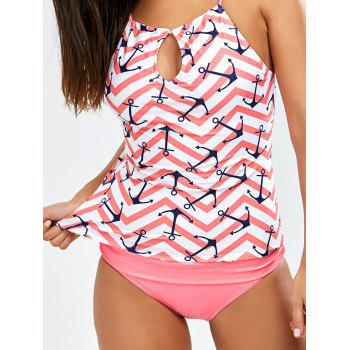 Anchor Print Keyhole Backless Tankini Swimsuits - PINK XL