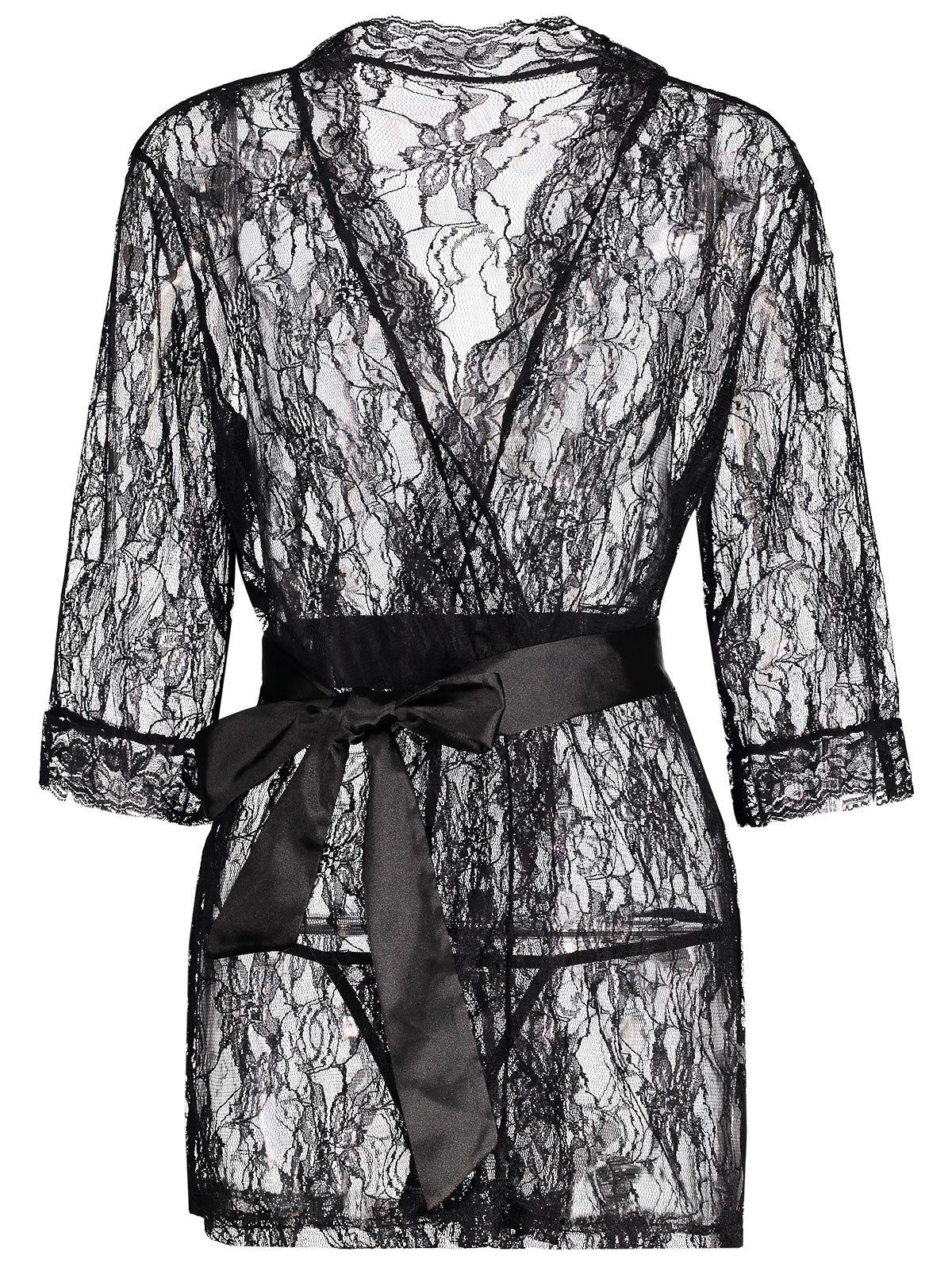 Lace See Thru Wrap Sleep Robe - BLACK M