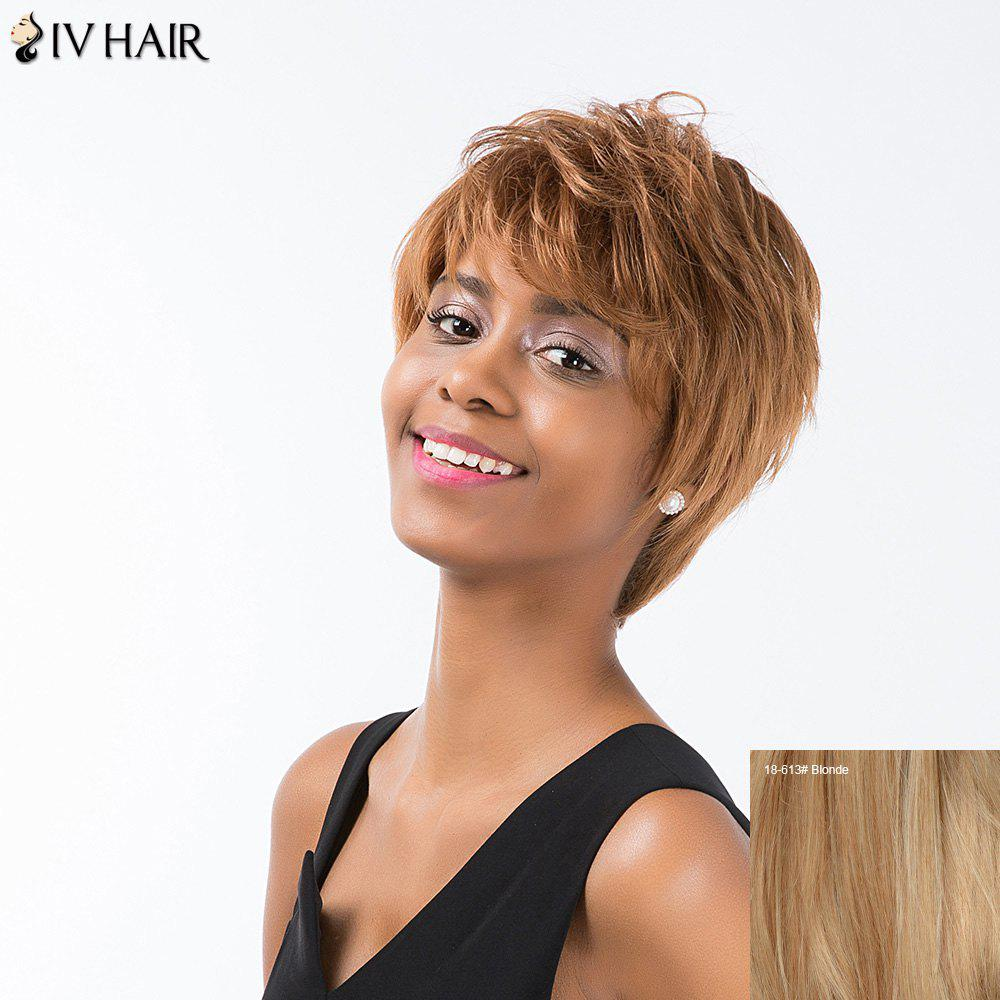 Siv Cheveux courts Hétéro Layered Inclined Bang Pixie perruque de cheveux humains - / Blonde