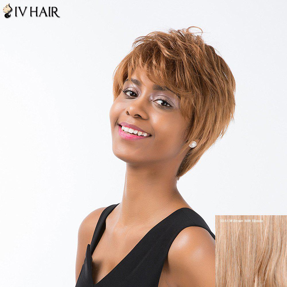 Siv Cheveux courts Hétéro Layered Inclined Bang Pixie perruque de cheveux humains - / Brown Avec Blonde