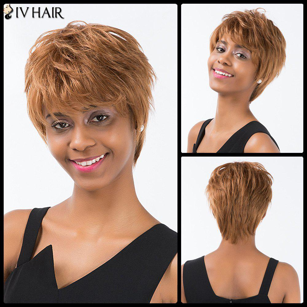 Siv Cheveux courts Hétéro Layered Inclined Bang Pixie perruque de cheveux humains -