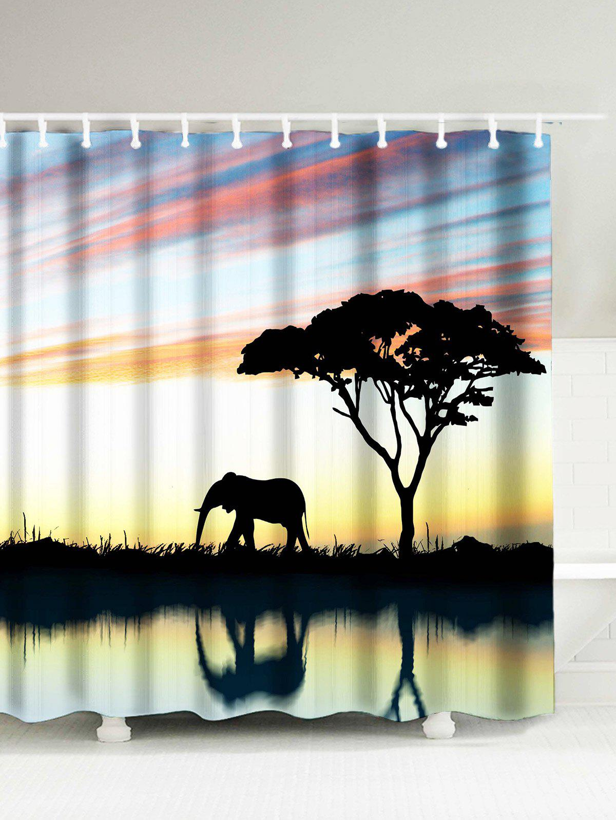 2018 Afro Landscape Elephant Water Resistant Shower Curtain ...